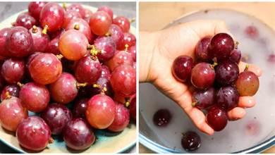 洗葡萄不要只用鹽和澱粉,教你1個技巧,髒東西全跑光