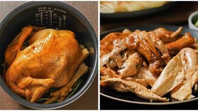 不放一滴水,用電飯煲做燜雞,雞皮彈韌透亮,包裹雞肉透滿醬香