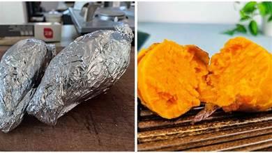 用電鍋做烤紅薯,不要直接下鍋,多做這1步,和炭烤紅薯一樣香