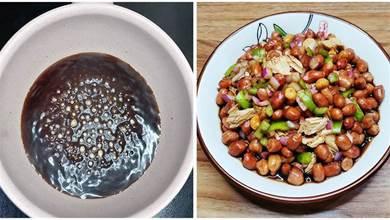 做老醋花生米,最忌直接下鍋炸,熬醋汁是關鍵,酸甜酥脆下酒必備