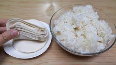 餃子皮加米飯原來這麼好吃,吃一次再也不想吃餃子,出鍋香而不膩