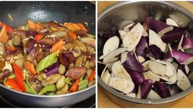 燒茄子時,不可直接放油,大廚說多加1個步驟,茄子不發黑不吸油