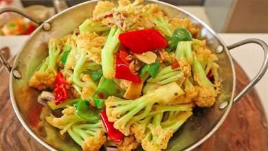 幹鍋花菜是焯水還是過油?做對這一步,花菜脆爽入味不油膩